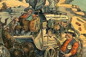 "The hold-up / Albert Levering. Illustration shows a group of highwaymen labeled ""Trust, Express Company, [and] Protected Monopoly"" robbing a stagecoach labeled ""The Consumers' Coach""; the driver, labeled ""Congress"", is throwing them a pouch labeled ""U.S. Parcels Post""."